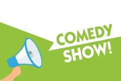 Show för komedi för ordhandstiltext Affärsidé för humoristiskt underhållande medel för roligt program av underhållningmegafonhögt vektor illustrationer