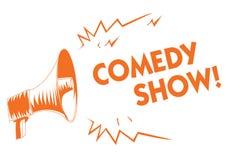 Show för komedi för textteckenvisning Humoristiskt underhållande medel för begreppsmässigt program för foto roligt av orange mega vektor illustrationer