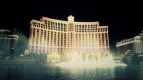 Show för Las Vegas Bellagio springbrunnmusik arkivfilmer