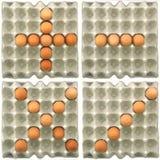 Show för Plus-Negativ-Multiplicera-skiljelinje symbol s vid ägg Arkivfoton
