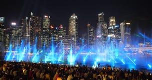 Show för för Singapore Marina Bay Spectra Wonder Full nattljus och vatten - del 11 arkivfilmer
