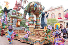 Show of the famous cartoon characters of Walt Disney in a parade at Hong Kong Disneyland Royalty Free Stock Photos
