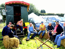 Show farmers relaxing at Moorgreen show. Stock Photo