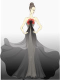 Show of fashions. Beautiful girl is in long clothes stock illustration