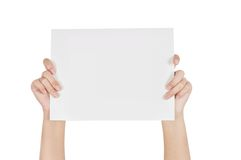 Show file. Woman holding blank business documents in hand Stock Photos