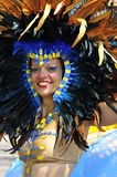 Show girl. Smiling lady show her beautiful head costume as she smile at camera at the scotia caribbean festival in toronto canada  on 4 august 2012 Stock Image