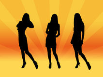 Show girls. Girls silhouettes in night club Royalty Free Stock Photography