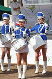 Show-group of drummers in sexy blue uniform of the Royal lancers Stock Photography