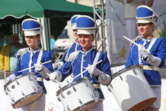 Show-group of drummers in sexy blue uniform of the Royal lancers Royalty Free Stock Images