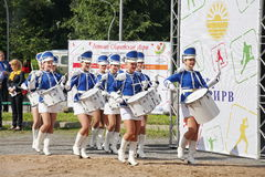 Show-group of drummers in sexy blue uniform of the Royal lancers Royalty Free Stock Photos