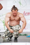 Show the group the Petersburg athletic. champion, master of sports Dmitry Klimov. Stock Image