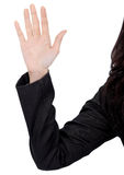 Show hand. Closeup image of woman show her hand on white background Royalty Free Stock Photo