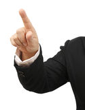 Show hand point. Image of business woman show hand point on white background royalty free stock image