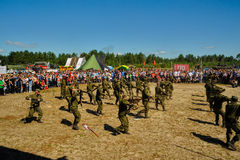 Show of high military and engineer school cadets Stock Photo