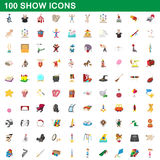 100 show icons set, cartoon style. 100 show icons set in cartoon style for any design vector illustration Royalty Free Stock Photo