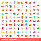 100 show icons set, cartoon style. 100 show icons set in cartoon style for any design vector illustration Stock Images