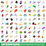 100 show icons set, isometric 3d style. 100 show icons set in isometric 3d style for any design vector illustration royalty free illustration