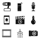 Show icons set, simple style. Show icons set. Simple set of 9 show vector icons for web isolated on white background Royalty Free Stock Photos