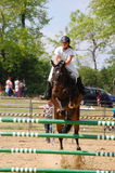 """Show jumping competition. May Day horse-show in Gödöllö - 14 MAY 01, The special horse-show called """"Lovasmajális"""""""" takes place at the St. Stephen Royalty Free Stock Photos"""