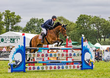 Horse Show Jumping at the Hanbury Countryside Show, England. A beautiful horse ridden by a male competitor  jumping over one of the hurdles during an equestrian Royalty Free Stock Photography
