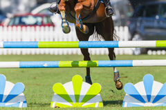 Show Jumping Horse Closeup Hoofs. Show Jumping horse unidentified rider closeup jumping gate poles legs hoofs action photo Stock Photo