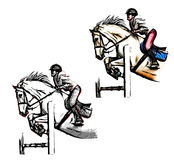 Show jumping illustration Stock Images