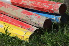Show jumping obstacles bars for horse jumping event Stock Image