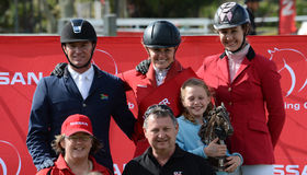 Show jumping winners Royalty Free Stock Photo