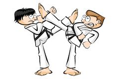 Show karate fight isolated on white Royalty Free Stock Photography
