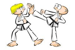 Show karate fight isolated on white Stock Photos