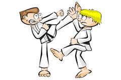 Show karate fight isolated on white Stock Photo