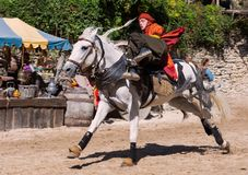 The Show : The Legend of Knights in Provins, France. Acrobatics on horseback during the show The legend of the knights in Provins in France royalty free stock photography