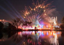 Show Light and Firework at Thailand Royalty Free Stock Photo