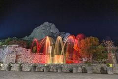 Free Show Lights And Water Funts PEÑA DE BERNAL- Is A Monolith In The Queretaro State Of Mexico Royalty Free Stock Image - 136340696