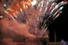 Show of lights and fireworks in Elche royalty free stock photos