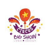 Show-Logoentwurf des Zirkusses kann großer, der Karneval, festlich, Zirkusshowaufkleber, Gestaltungselement für flyear, Plakat, F vektor abbildung