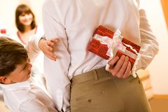 Show me the gift! Royalty Free Stock Photography