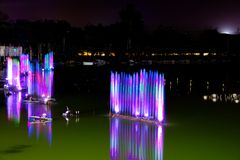 Show of musical fountain in the lake Stock Photos