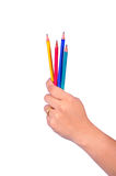 Show pencil in hand Royalty Free Stock Photography