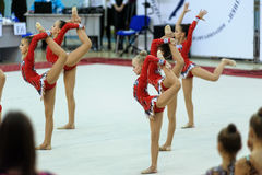 Show program of young gymnasts. Tyumen Royalty Free Stock Images