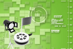 Show reel , studio light  with checker flag Illustration Stock Images