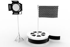 Show reel , studio light  with checker flag Royalty Free Stock Image