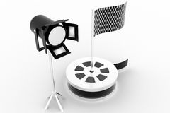 Show reel , studio light  with checker flag Stock Photos