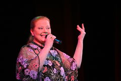 Show singer Lyudmila Senchina on the stage of in the house of culture named after Gorky Stock Photo