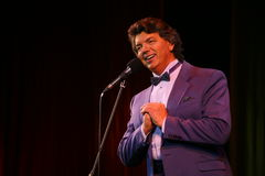 Show singer Sergey Zakharov on the stage of in the house of culture named after Gorky Stock Image