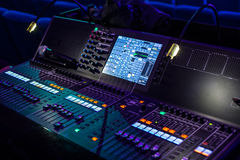 Show sound controller with lighted screens Stock Images