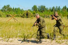 Show of special troops warriors. Tyumen Royalty Free Stock Photos