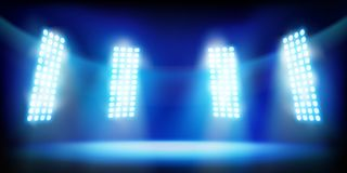 Lights on the stage. Vector illustration. Stock Image
