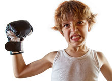 Show of strength. Watch out. Those muscles are pure iron. White background, plenty of copyspace Royalty Free Stock Photos