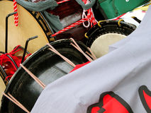 Show stuff. Close-up of some drums during a street festival Stock Photography